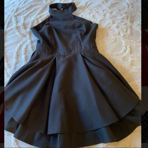 Black open back skater dress